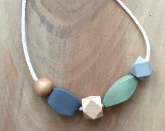 Wooden Bead and Rope Necklace