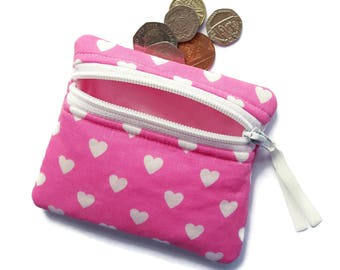 Pink with white hearts coin purse, change purse, zipped card pouch