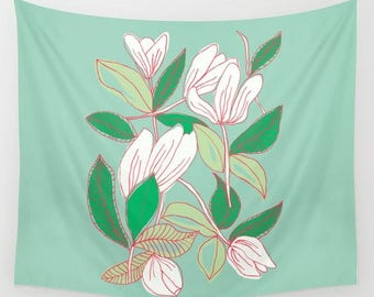 fabric wall tapestry-floral wall hanging-mint green-white-tulips illustration-modern floral design-wall decor-home decor-wall art