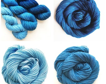 TWILIGHT fade set of hand dyed yarn. Gradient ombre SET of 3 skeins. choose sock dk bulky merino wool yarn. choose base. deep - light blue