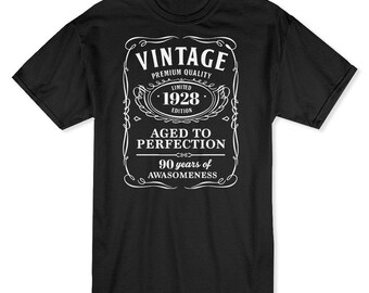 Vintage Premium Quality  90 Years Of Awesomeness Men's Black T-shirt