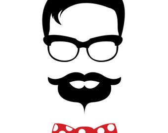 Vector Cut File - Hipster Guy Bow Tie