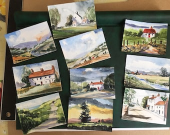 Batch of TEN ORIGINAL Miniature Watercolours - Landscapes and Cottages - ACEO For him, For her,Home Decor,Wall Art, Gift Idea, Free Shipping