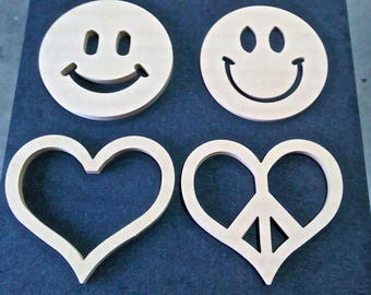 Happy Face, Heart, Peace and Love Wall Art