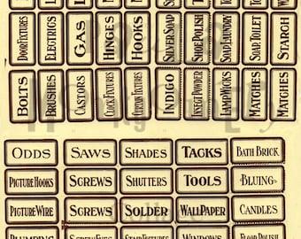 Vintage Hardware Store Drawer Labels Digital Download Collage Sheet