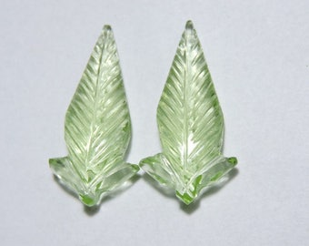 2 Pieces Beautiful Apple Green Quartz Hand Carved Leaves Loose Gemstone Size 30X15 MM