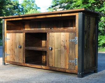 Superbe Reclaimed Wood TV Console, Reclaimed Wood Tv Stand, Rustic Tv Stand, Rustic  Tv