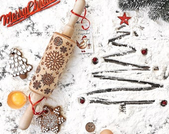 Stocking Stuffer Snowflake Christmas Ornament Rolling Pin Wooden Christmas decor Holiday New Year Baking Mom Girlfriend Sister gift | 77 |