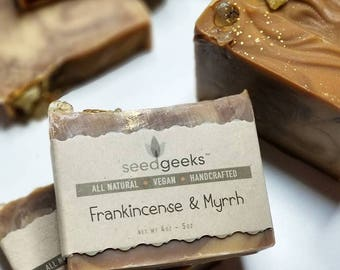 Frankincense & Myrrh Handcrafted Soap - Holiday Gift Soap, Essential Oil Soap, Shea Butter Handmade Soap, Vegan Soap, Cold Process Soap