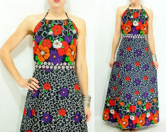 Backless 70's Halter Dress / Vintage Two Piece Halter Top + Wrap Skirt Matching Set / Floral Maxi Dress / Two Piece Outfit