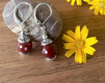 Carnelian Earring, Drop Earring, Carnelian Jewelry, Gamestone Earring, Dangle Earring, Simple Earring, Genuine Gamestone Earring.
