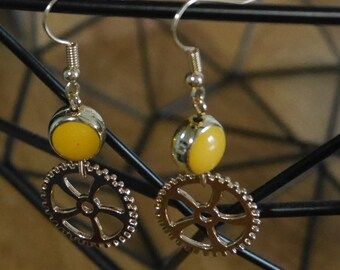 Wheel/COG - Golden cog earrings gold earrings