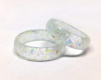 Opal Resin Ring - Resin Stacking Ring - Clear Opal Faceted Ring - Opal Jewelry - Shimmery Jewelry - Resin Rings - Gift for Her - Clear Resin