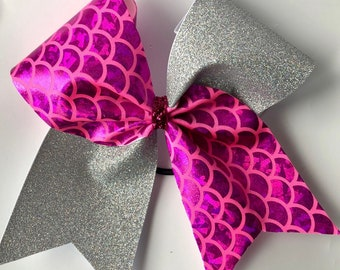 Tic toc magenta / glitter cheer bow / softball  bow