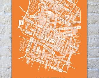 Austin, Texas Street Map Screen Print