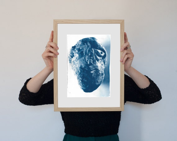 Rocky Face, Abstract Rock Face Sculpture, Cyanotype Print, Watercolor Print, Geologist Gift, Mineral Art, Botanical Print, Geology, Modern
