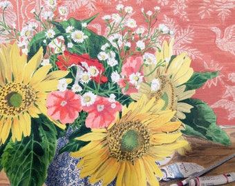Audean Johnson, Sunflowers, 1989 Vintage Lithograph, Individual or Set