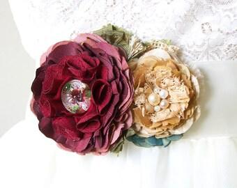 Bridal Sash - Southwestern Wedding - Desert Wedding Dress - Wedding Dress Sash - Colorful Flower Sash - Floral Bridal Belt - Floral Sash