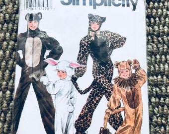 Simplicity #9983 1990's Sewing Pattern Boy's and Girls' Animal Costumes (Bear, Rabbit, Tiger and Lion) Jumpsuit zipper gloves hood UNCUT NEW