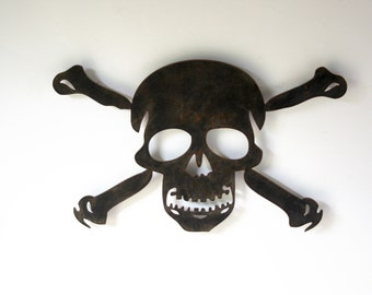 "Skull and Crossbones metal wall art - 22"" wide - choose your color with rust patina - medieval symbolism poison symbol toxic symbol skull"