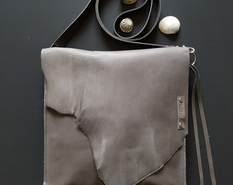 Distressed Grey leather cross body bag // Rustic leather bag // Raw edge leather bag