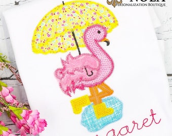 Flamingo with Umbrella Applique, Flamingo Applique, Rainy Day Flamingo Applique, Flamingo Shirt, Flamingo Embroidery