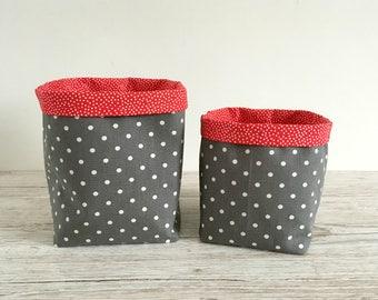 Grey and Red Fabric Storage Bins, Fabric Baskets, Bathroom Storage, Make Up Storage, Toiletries Storage Bins, Bedroom Storage Bins