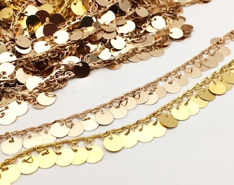 Rose Gold Or Gold Dangling Disc Coin Chain Charms Beads Beaded Links Chain 6mm Brass Based