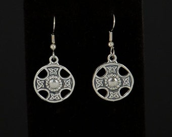 Pewter Celtic cross earrings, traditional style, by Sylvan Creations.