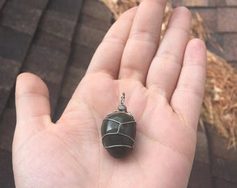 Agate handwrapped stone pendant