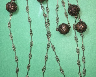 """Art Nouveau Unique Chain Link with Antique Copper/Brass Balls/MACKINTOSH ROSE Design/56""""tong, Balls are 10mm/In  Great Condition #BCEB-781"""