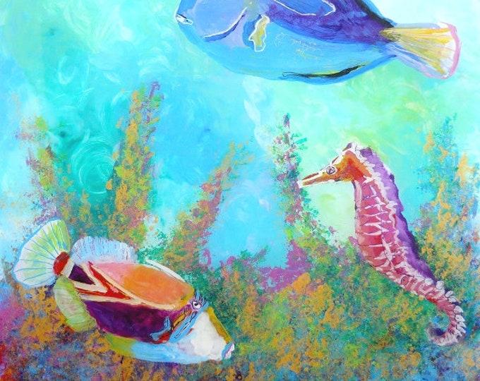 Hawaiian tropical fish art, 8x8 print, trigger fish art, seahorse art,  ocean paintings, hawaii sea life,  fish art prints, under the sea