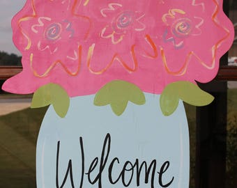 Welcome Mason Jar with Flowers Wooden Door Hanger
