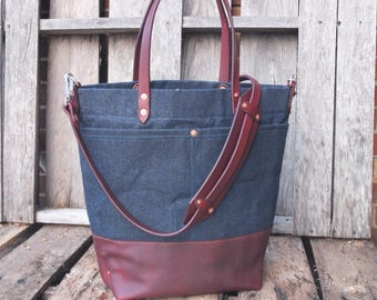 Waxed Denim Tote Bag with Leather Handles/Bottom/Strap/Magnetic Closure