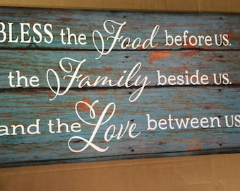 Bless the Food Before Us The Family Beside Us Love between Us Wood Sign Canvas Art Thanksgiving Christmas Hostess Gift,