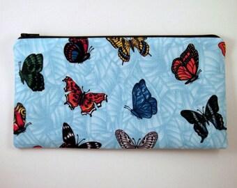 Blue Butterfly Zipper Pouch, Gadget Bag, Make Up Bag, Pencil Pouch