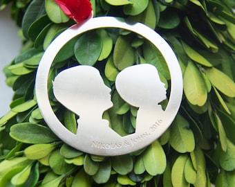 CUSTOM Silhouette Ornament - Siblings Head, 1st Ornament, Laser Cut in Sterling Silver of Brass - by Le Papier Studio