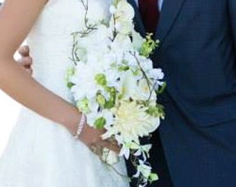 Ivory and White Cascade Silk Wedding Bouquet with Orchids, Dahlias, Dogwood Blossoms, and Calla Lilies