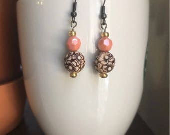 Dangle Earrings/Coral Earrings/Gold Earrings/Flower Earrings/Mother's Day Gift/Gift for Women/Christmas Gift/Boho Earrings/Gifts for Her