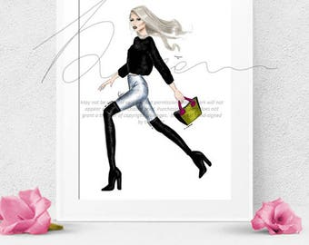 FREE PROMO fashion sketch,instant download ,wall art, office decor, gift for her, birthday gift, christmas gift