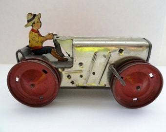Marx Toy Tractor and Farmer Tin Lithograph