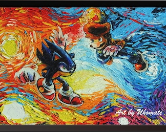 Vincent Van Gogh Starry Night Posters Sonic the Hedgehog and Super Mario Poster Canvas Wall Art Print Nursery Decor Wall Decor A073