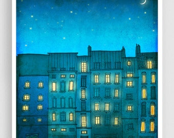 You are not alone (vertical) - Paris illustration Art prints Paris poster Home decor Modern Wall decor Nursery Kids room art Turquoise Blue