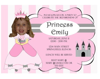 Princess Birthday Party Invitation Custom Photo - Unique Adorable Cute Fun Funny Digital Printable