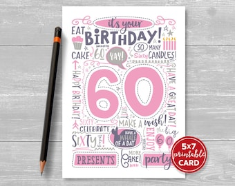 "Printable 60th Birthday Card - Doodled Sixty Birthday Card in Pink - 5""x7"" plus printable envelope template. Instant Download."