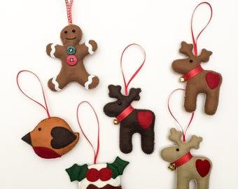 Felt Christmas Tree Decorations, Christmas Decor, Gingerbread Man, Reindeer, Christmas Pudding, Robin, Felt Hanger, Felt Decorations