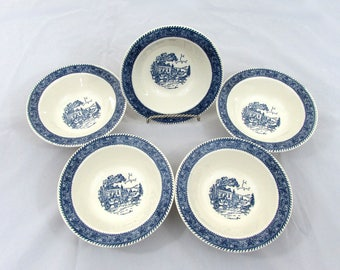 "Shakespeare Country 7.25"" rim cereal bowls - set of 5 - from Stratwood Collection - 1960s"
