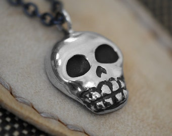 Skull Necklace, Sugar Skull, Sterling Silver, Handcrafted, Oxidized Black, Day of the Dead, Skeleton. SKULLY NECKLACE.