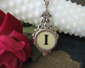 Antique Typewriter Key Pendant, Letter I, Initial Necklace