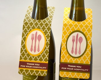 Set of two Wine Bottle Gift Tag Thanks for Hospitality